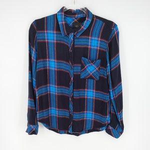 Rails Hunter Shirt in Azure Midnight Ruby Sz M
